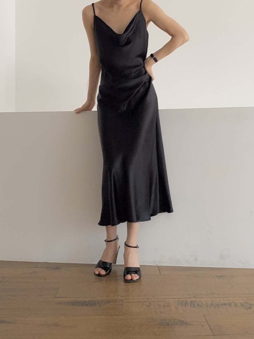 slip dress-black