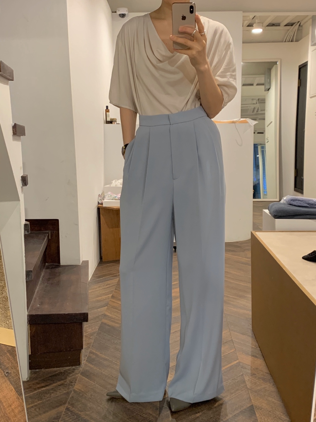 poly wide pants