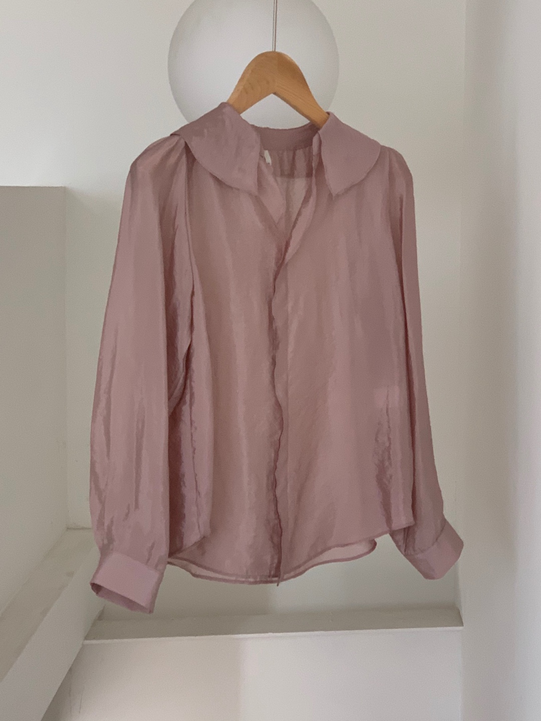 purple frill blouse